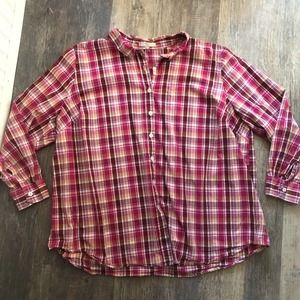 Woman Within | Pink Plaid Button Down Shirt